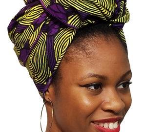 Purple and Yellow African Print Ankara Head Wrap One Size