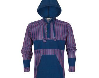 Grandad Shirt with Hoodie // Long Sleeve Kurta // 100% Cotton // Made in Nepal // Striped // Hippie Hobo Boho Bohemian Wear