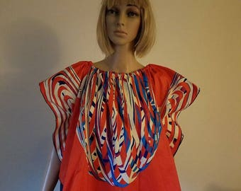 Red print African Ankara blouse