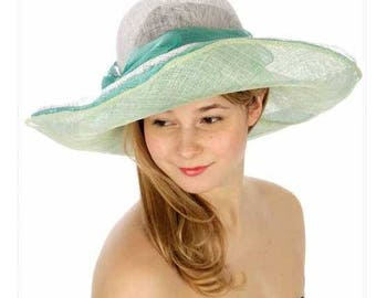 3 layer pastel Sinamay dresS Derby Hat Formal hat, Dressy Hat, Church hat, Wedding Hat, Kate Middleton Hat