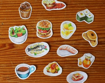 Set of 13 Small Food Illustration Stickers