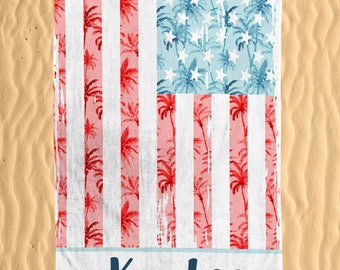 Personalized Patriotic Palm Beach Towel - Watercolor Colorful Palm and USA Flag Print Monogram 30x60 Beach Towel