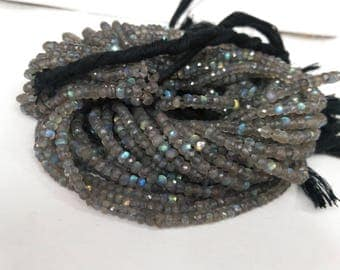 40ct100% Natural Fine Labradorite Faceted Rondelle Beads 3.3-3.7mm | labradorite faceted | labradorite Rondelle | Fine Beads | Natural Beads