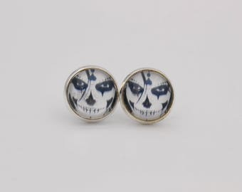 Cabochon earrings scary face