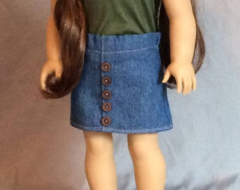 American Girl Doll Denim Button Skirt