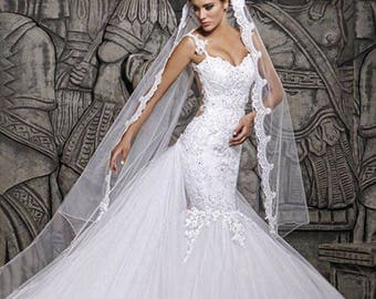 SALE...Custom Made Removable illusion Court Train Lace Mermaid Wedding dress