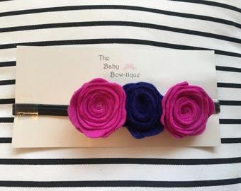 Pink & Blue felt flower headband