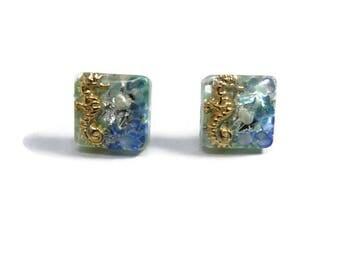 Seahorse earrings, Square stud earrings,Resin jewelry , Ocean themed earrings, Resin stud, Square studs, Blue, light blue