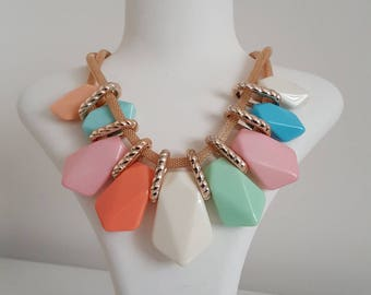 Candy colored, tropical summer colors knitting chain necklace