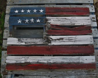 Driveway/Garden Decoration American Flag abstract on a broken and weathered pallet.
