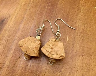Cork earrings and steel with wooden decoration