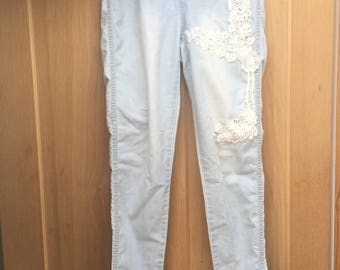 size 14, light blue, bleached, lace, skinny jeans
