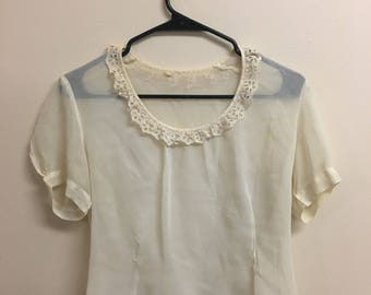 Vintage 1960's white sheer lace blouse