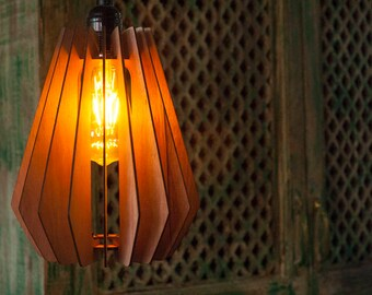 One wooden lamp