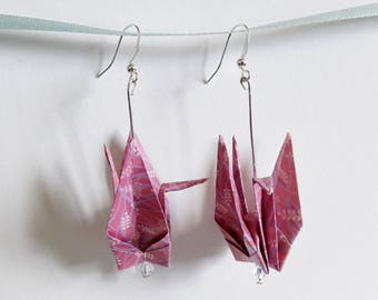 Origami Japanese crane - purple earrings