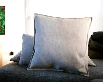 Light Grey Large Linen Fabric Cushion Cover