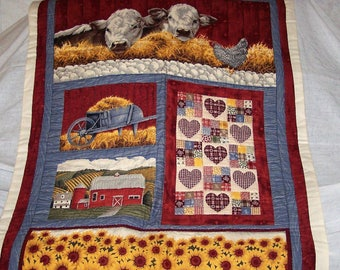 "Hand Sewn Quilted Wall Hanging (32.5""W X 44""L) ""Roy's Farm"""