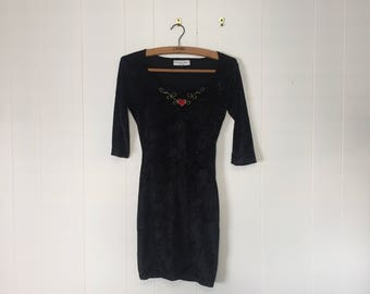 VINTAGE Black Velvet Embroidered Mini Dress