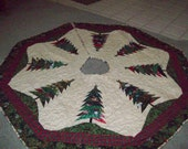 """Large Christmas Tree Skirt 64"""" x 64"""" Reversible Quilted #80"""