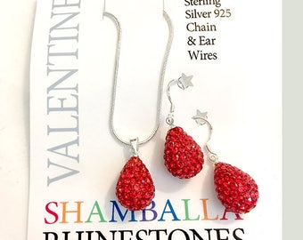 July Birthstone Valentine Gift 925 Sterling Silver and Ruby Shamballa Rhinestone Necklace Earrings Set
