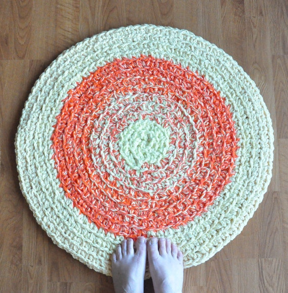 Round Crochet Rug Yellow Round Rug Orange Rug Orange Round