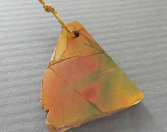 Raw Jasper Slice Focal Pendant Satin Finish Rough Rustic pendant