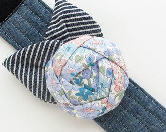 Rose Pincushion Cuff | Fabric flower bracelet wrist pin cushion to wear while sewing and keep your pins nearby.