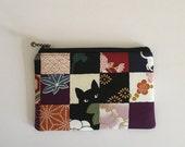 Mini zipper pouch  - black cat and check