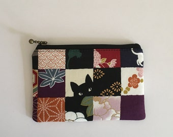 Mini zipper pouch  - black cat and check