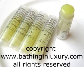 Chardonnay Grapes Lip Balm Handmade UNISEX  - VEGAN - green but goes on un tinted