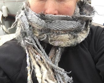 Grey Skull Everyday Scarf GY06 in greys handwoven and felted by me
