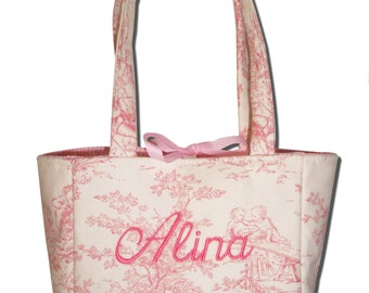 Monogrammed Girl's Pink Toile Handbag Girls Purse Bag Tote Custom Personalized Gift Boutique