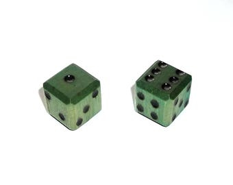 Wooden Dice - Imperfect Green Pair #1