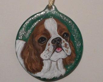 English Toy Spaniel Dog Custom Painted Ceramic Christmas Ornament Decoration