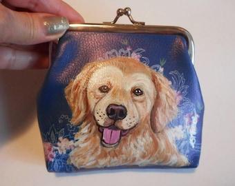 Golden Retriever Dog  Hand Painted Leather Coin Purse Vegan Mini Wallet
