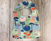 Baby Girl Bib in Sky Floral Fabric - Baby Shower Gift-B...