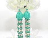 Turquoise Blue Tassel Earrings Tangled Up In Blues - Blue Flower Earrings - Tassel Earrings - Gift for Girlfriend