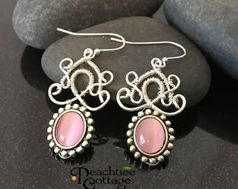 Wire Wrapped Earrings - Pink Tiger's Eye Earrings - Wire Drop Earrings - Wire Earrings - Silver Plated Earrings - Made To Order