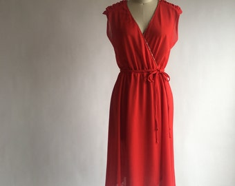 1970s Red Beaded Dress