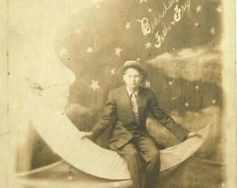 Paper Moon Postcard FISH FRY Beardstown Illinois RPPC Souvenir Gentleman Young Man 1913
