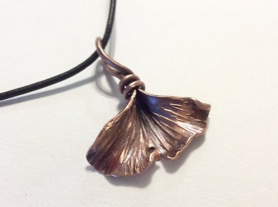 Small Ginkgo Leaf pendant- made to order in bronze or copper
