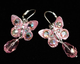 Butterfly Earrings with  Sparkling Light Rose Crystals