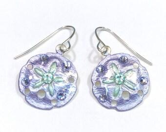 Sand Dollar Earrings Handpainted in Light Purple and Mint Green