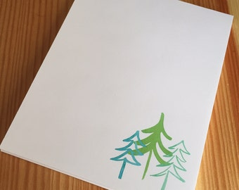 Winter Holiday Trees Notepad - Watercolor Pine Trees Notepad - Holiday Hostess Gift - Handmade Notepad - 40 Sheet Notepad