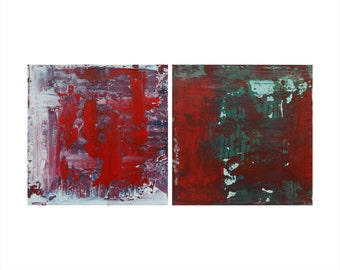 Set of 2 Small Abstract Paintings, Dazzled + Red Algae, Textured Acrylic, Modern Abstract Art, Minimalist Paintings, Reductive Art, Red