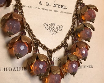 Art Nouveau Inspired Fleur Necklace in Pink