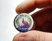 Glass Peacock Cabochon - P4 - for Jewelry and Pendant Making