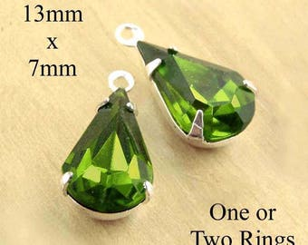 Olivine Green Vintage Glass Beads - 13mm x 7mm Pear or Teardrop - Silver or Brass Settings - Glass Gems - Jewelry Supply - One Pair