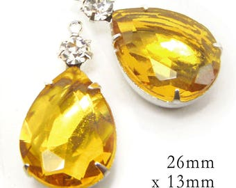 Golden Topaz Glass Beads - Pear or Teardrop - Framed Glass Pendant or Earring Jewels - 26mm x 13mm - Choose Your Color - One Pair