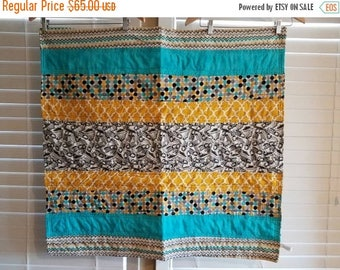 Moving Sale Sneak-a-boo Baby Quilt - blue, lime green, teal, grey 320